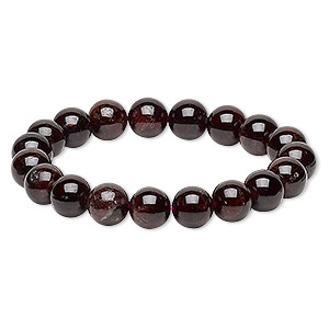 bracelet, stretch, garnet (dyed), 9-10mm round, 6 inches. sold individually.