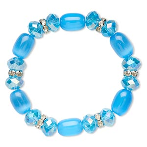 bracelet, stretch, glass / cats eye glass / glass rhinestone / imitation rhodium-plated steel, teal ab / clear / teal, 10mm wide, 6-1/2 inches. sold individually.