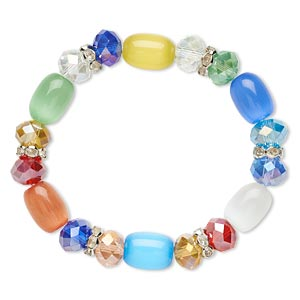 bracelet, stretch, glass / cats eye glass / glass rhinestone / imitation rhodium-plated steel, multicolored, 10mm wide, 6 inches. sold individually.