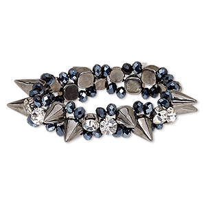 bracelet, stretch, glass / glass rhinestone / gunmetal-coated plastic / gunmetal-finished steel, clear and metallic black, 16mm wide with spikes, 7 inches. sold individually.