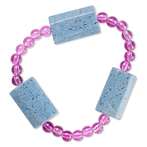 bracelet, stretch, glass and acrylic, opaque purple and blue, 5mm round and 24x14mm-25x16mm faceted puffed rectangle, 6-1/2 inches. sold individually.