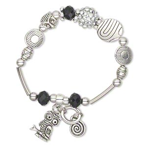 bracelet, stretch, glass and antique silver-plated pewter (zinc-based alloy), black, owl, 6-1/2 inches. sold individually.