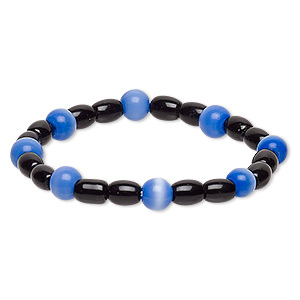 bracelet, stretch, glass and cats eye glass, opaque cobalt and black, 7-8mm round and 7x5mm-8x6mm barrel, 6 inches. sold individually.