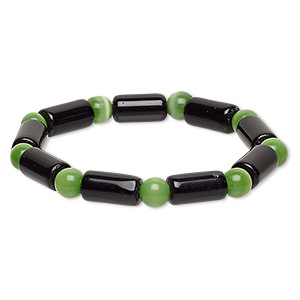 bracelet, stretch, glass and cats eye glass, opaque green and black, 7-8mm round and 14x7mm-15x8mm round tube, 7 inches. sold individually.