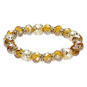 bracelet, stretch, glass rhinestone / glass / acrylic / gold-finished steel, golden yellow ab / white / clear, 10mm wide with rondelle, 6 inches. sold individually.