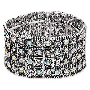 bracelet, stretch, glass rhinestone and antique silver-finished pewter (zinc-based alloy), clear and clear ab, 37.5mm wide with 4-row design, 6 inches. sold individually.