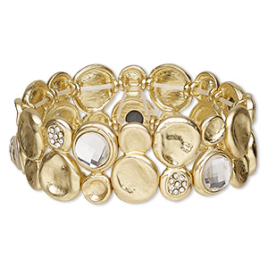 bracelet, stretch, glass rhinestone and gold-finished pewter (zinc-based alloy), clear, 25mm wide, 6-1/2 inches. sold individually.
