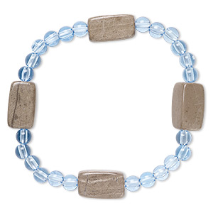 bracelet, stretch, grey and cream marble (natural) and acrylic, blue, 5mm round and 17x9mm-18x10mm square tube, 6-1/2 inches. sold individually.