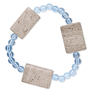 bracelet, stretch, grey and cream marble (natural) and acrylic, blue, 5mm round and 25x18mm-26x18mm flat rectangle, 6-1/2 inches. sold individually.