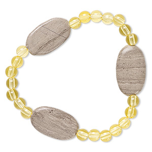 bracelet, stretch, grey and cream marble (natural) and acrylic, yellow, 5mm round and 24x14mm-25x15mm flat oval, 6-1/2 inches. sold individually.