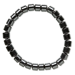 bracelet, stretch, hemalyke™ (man-made), 6mm drum, 6-3/4 inches. sold individually.