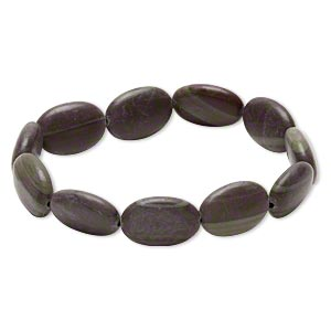 bracelet, stretch, mocha mint jasper (natural), 17x12mm-19x13mm flat oval, 5-1/2 inches. sold individually.