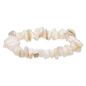 bracelet, stretch, mother-of-pearl shell (natural), large chip, 6 inches. sold individually.