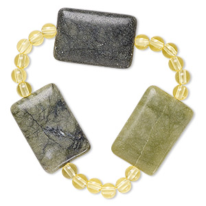 bracelet, stretch, multi-serpentine (natural) and acrylic, yellow, 5mm round and 30x20mm flat rectangle, 6 inches. sold individually.