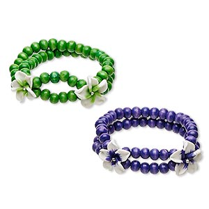 bracelet, stretch, painted wood / polymer clay / glass rhinestone, green / purple / white, 20mm wide with 20mm flower, 6 inches. sold per pkg of 2.