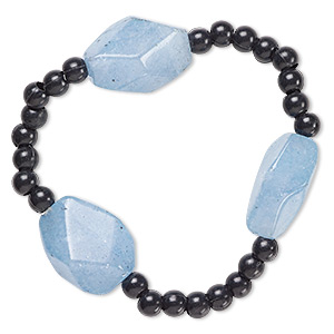 bracelet, stretch, quartz (dyed) and acrylic, black and blue, 5mm round and medium to large faceted tumbled nugget, 6-1/2 inches. sold individually.