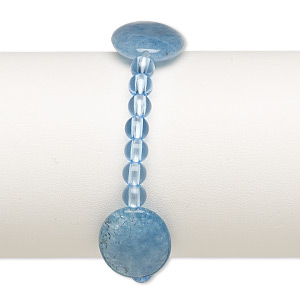 bracelet, stretch, quartz (dyed) and acrylic, blue, 5mm and 24x17mm-25x18mm puffed oval, 6-1/2 inches. sold individually.