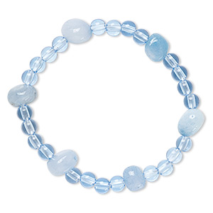 bracelet, stretch, quartz (dyed) and acrylic, blue, 5mm round and mini to small nugget, 6-1/2 inches. sold individually.
