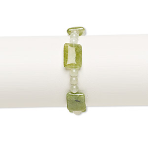 bracelet, stretch, quartz (dyed), green and light green, 5mm round and 18x12mm-19x14mm puffed rectangle, 6 inches. sold individually.