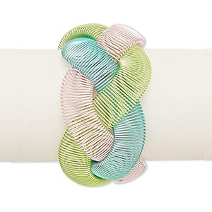 bracelet, stretch, steel, light blue / light pink / light green, 40mm wide with braided design, 6 to 7-1/2 inches. sold individually.