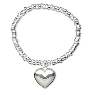 bracelet, stretch, sterling silver, 5x3mm rondelle with 23x22mm heart, 7-1/2 inches. sold individually.
