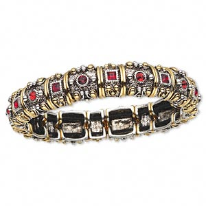 Bracelet Stretch Swarovski Crystals With Silver And Gold Plated Pewter Zinc Based Alloy Garnet 14mm Wide Beaded Design 7 1 2 Inches