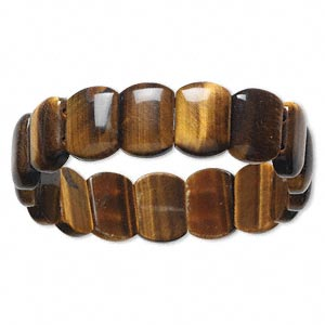 bracelet, stretch, tigereye (natural), 12x8mm-14x10mm rounded rectangle, 6-1/2 inches. sold individually.