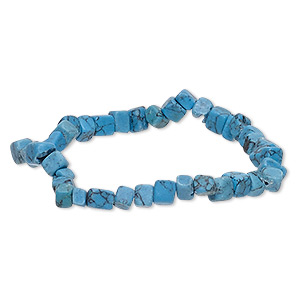 bracelet, stretch, turquoise (imitation), blue, 4x3mm-6x6mm cube and rectangle, 6-1/2 inches. sold individually.