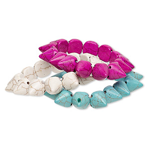 bracelet, stretch, turquoise (imitation), purple / white / turquoise blue, 14mm spike, 7 inches. sold per pkg of 3.