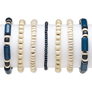 bracelet, stretch, wood (natural) and painted wood, black and dark blue, 4x3mm-20x9mm assorted shape, 6-1/2 inches. sold per pkg of 7.