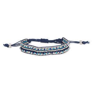 bracelet, waxed cotton cord / glass / silver-plated steel, blue / turquoise blue / purple, 14mm wide, adjustable from 6-9 inches with macrame knot closure. sold individually.