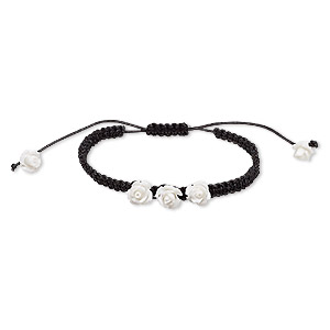 bracelet, waxed cotton cord and resin, black and white, 10mm rose, adjustable from 7 to 9-1/2 inches with macrame knot closure. sold individually.