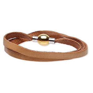 bracelet, wrap, leather (dyed) / stainless steel / gold-finished stainless steel, natural, 5mm wide, 6-1/2 inches with magnetic clasp. sold individually.