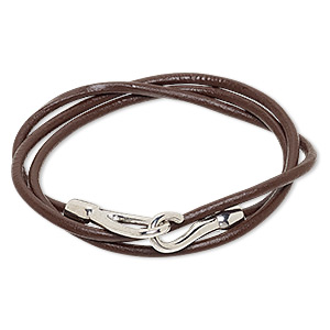 bracelet, wrap, leather (dyed) and silver-finished pewter (zinc-based alloy), brown, 3mm wide, 7 inches with hook-and-eye clasp. sold individually.