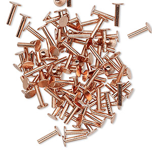 brad, copper, 7x4mm flat head, 16 gauge. sold per pkg of 100.