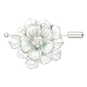brooch / pendant, glass rhinestone / enamel / silver-finished pewter (zinc-based alloy), silver / teal / clear ab, 36x33.5mm flower. sold individually.