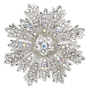 brooch / pendant, glass rhinestone and imitation rhodium-plated pewter (zinc-based alloy), clear and clear ab, 46x40mm snowflake with hidden bail. sold individually.