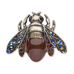 brooch, enamel / glass rhinestone / antique brass-plated pewter (zinc-based alloy), brown ab / brown / black, 36x30.5mm bee. sold individually.