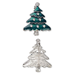 brooch, enamel / glass rhinestone / imitation rhodium-plated pewter (zinc-based alloy), green and clear, 36x31mm christmas tree. sold individually.