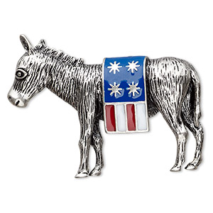 brooch, enamel and antique silver-plated pewter (zinc-based alloy), red / white / blue, 48x33mm donkey with usa flag. sold individually.