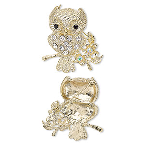 brooch, glass rhinestone and gold-finished pewter (zinc-based alloy), clear ab / clear / black, 44x40mm owl. sold individually.