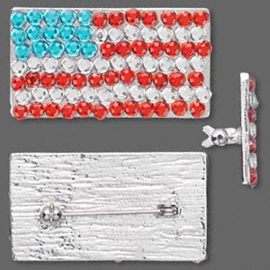 brooch, plastic rhinestone and rhodium-finished pewter (zinc-based alloy), red / white / blue, 39x22mm usa flag. sold individually. minimum 3 per order.