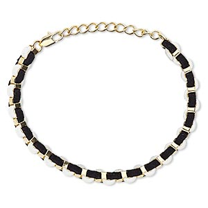 brracelet, imitation leather with gold-finished brass and steel, black and white, 6mm wide, 6-1/2 inches with 2-inch extender chain and lobster claw clasp. sold individually.