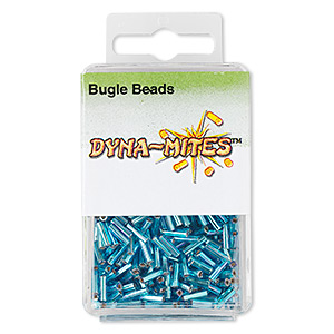 bugle bead, dyna-mites™, glass, silver-lined translucent rainbow blue, #3 square hole. sold per 35-gram pkg.