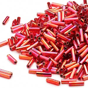 bugle bead, dyna-mites™, glass, silver-lined translucent rainbow ruby red, #3 square hole. sold per 35-gram pkg.