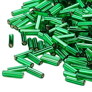 bugle bead, dyna-mites™, glass, silver-lined transparent emerald green, #3 square hole. sold per 35-gram pkg.