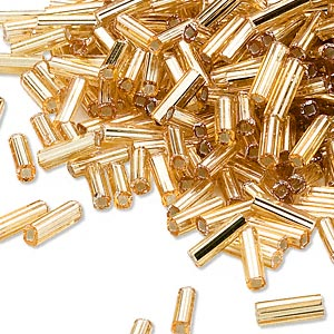 bugle bead, dyna-mites™, glass, silver-lined transparent gold, #3 square hole. sold per 1/2 kilogram pkg.