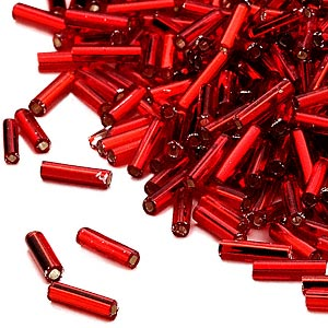 bugle bead, dyna-mites™, glass, silver-lined transparent red, #3 square hole. sold per 1/2 kilogram pkg.
