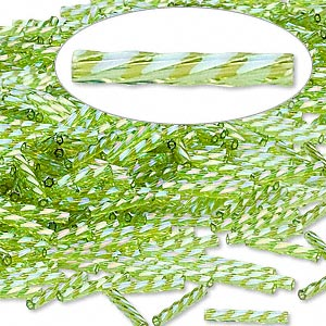 bugle bead, dyna-mites™, glass, transparent rainbow light green, 12mm twisted. sold per 50-gram pkg.