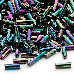 bugle bead, ming tree™, glass, opaque rainbow peacock, 1/4 inch. sold per 1-pound pkg.